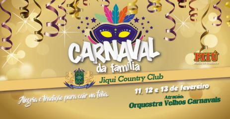 Vem aí mais um tradicional Baile de Carnaval do Jiqui Country Club.